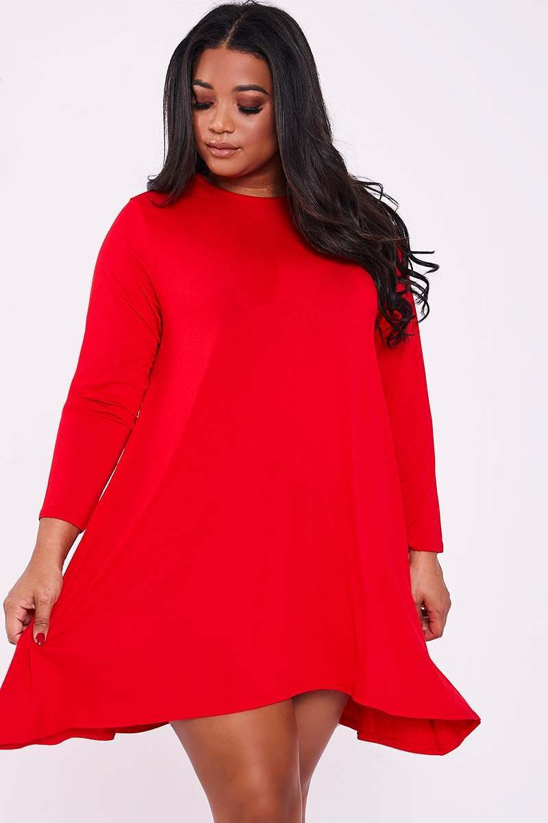 CURVE LAYLEE RED PLAIN SWING DRESS