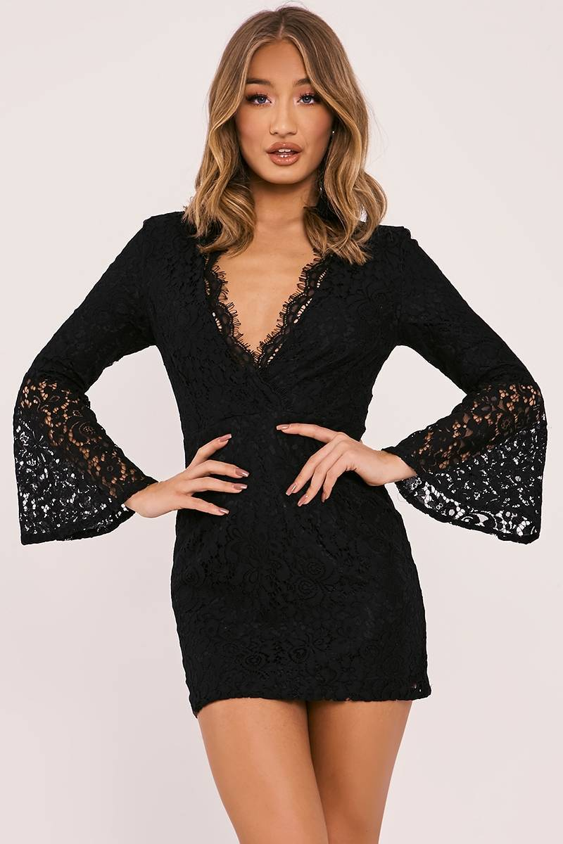 FRAYDA BLACK LACE FLARED SLEEVE PLUNGE DRESS
