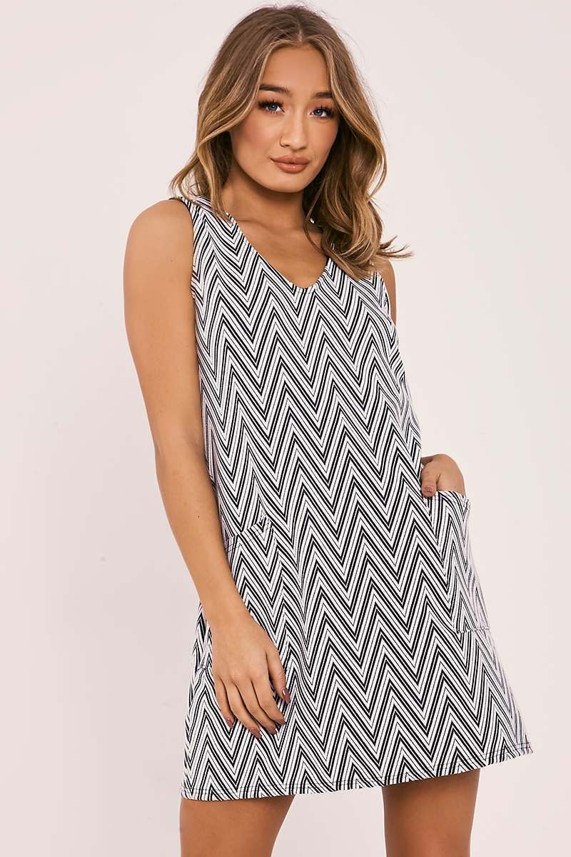 ABRIE MONOCHROME ZIG ZAG SLEEVELESS POCKET FRONT DRESS