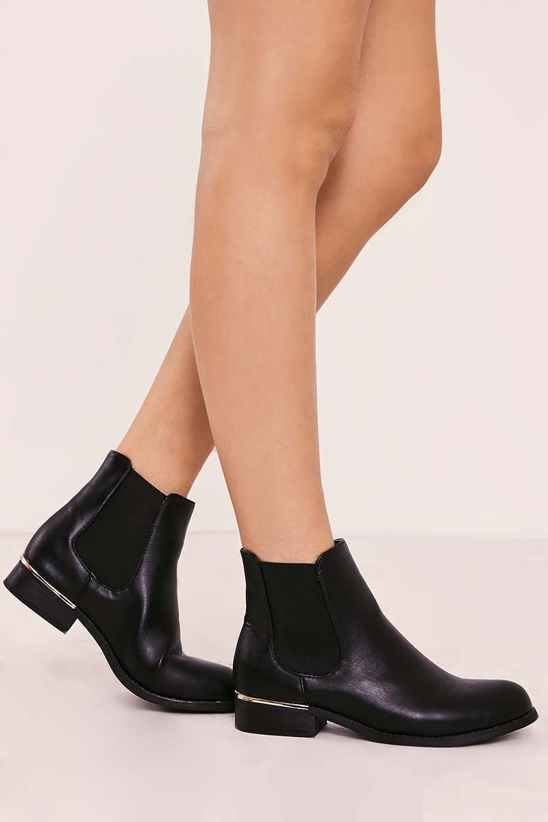VIERA BLACK FAUX LEATHER ANKLE BOOTS
