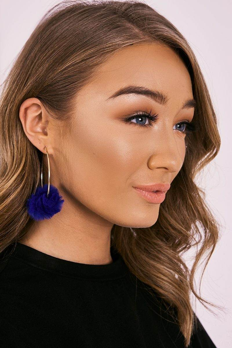 COBALT BLUE POM POM HOOP EARRINGS