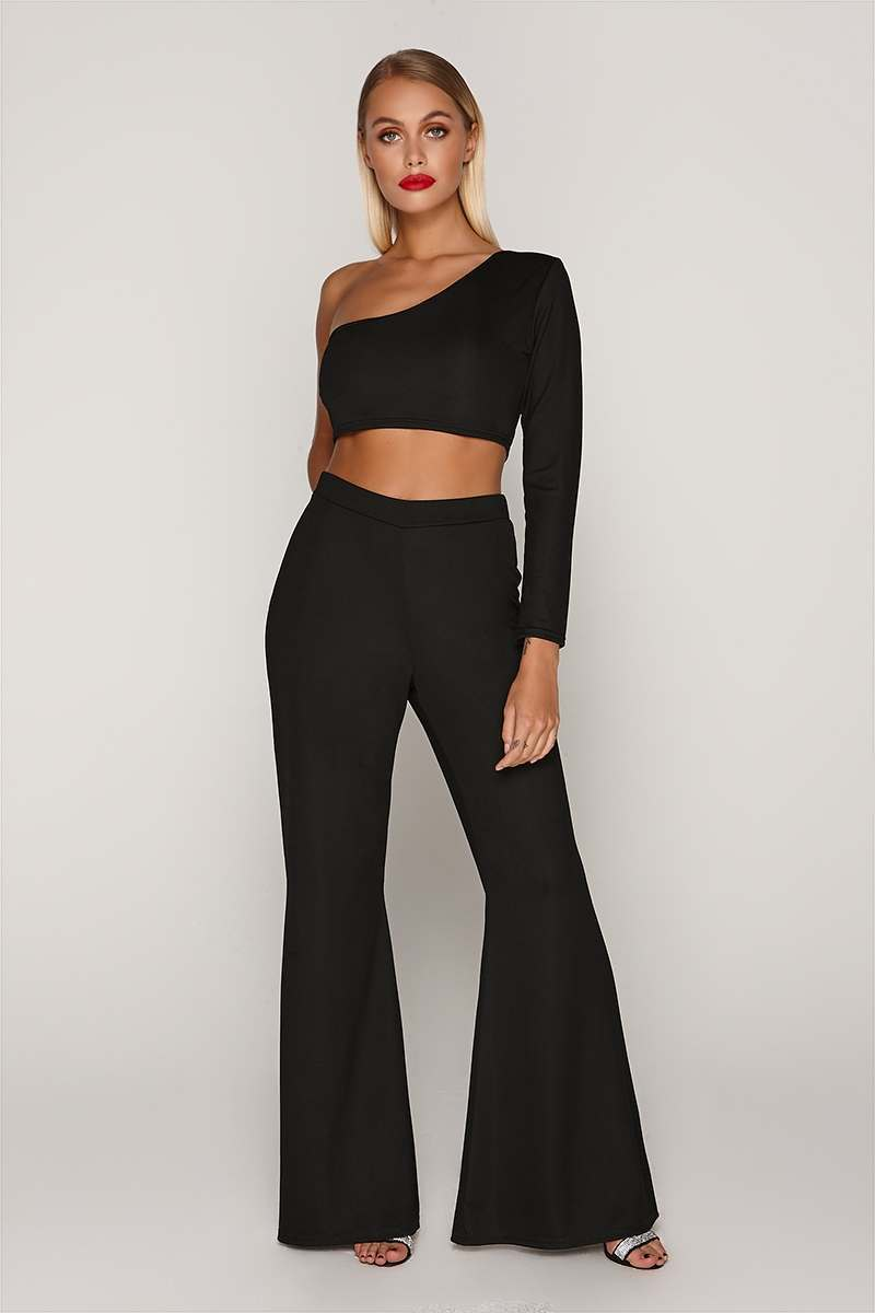TAMMY HEMBROW BLACK WIDE LEG TROUSERS