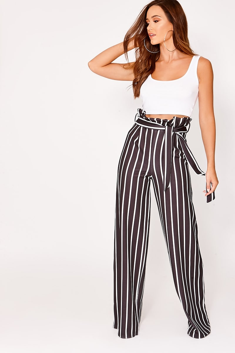 IYLA BLACK STRIPED WIDE LEG PAPERBAG TROUSERS