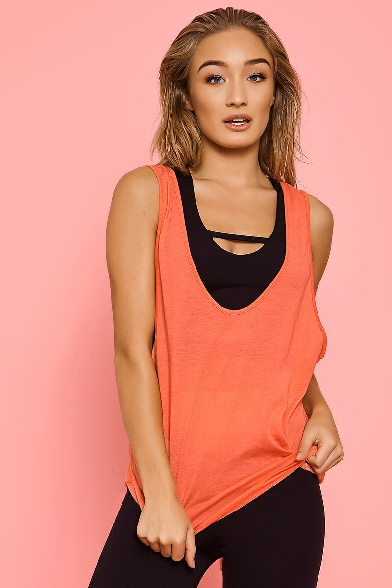 CHARLOTTE CROSBY CORAL SLEEVELESS WRAP BACK VEST TOP