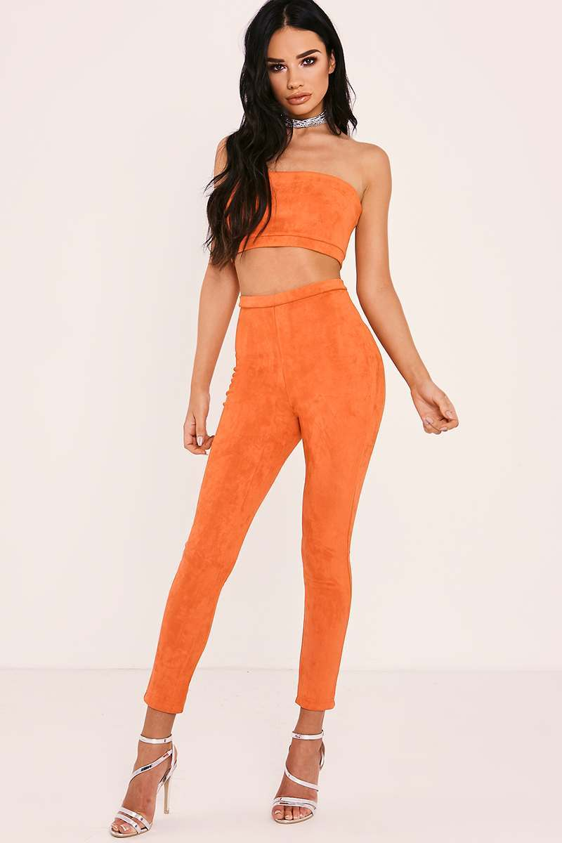 SARAH ASHCROFT HOT ORANGE FAUX SUEDE HIGH WAISTED LEGGINGS