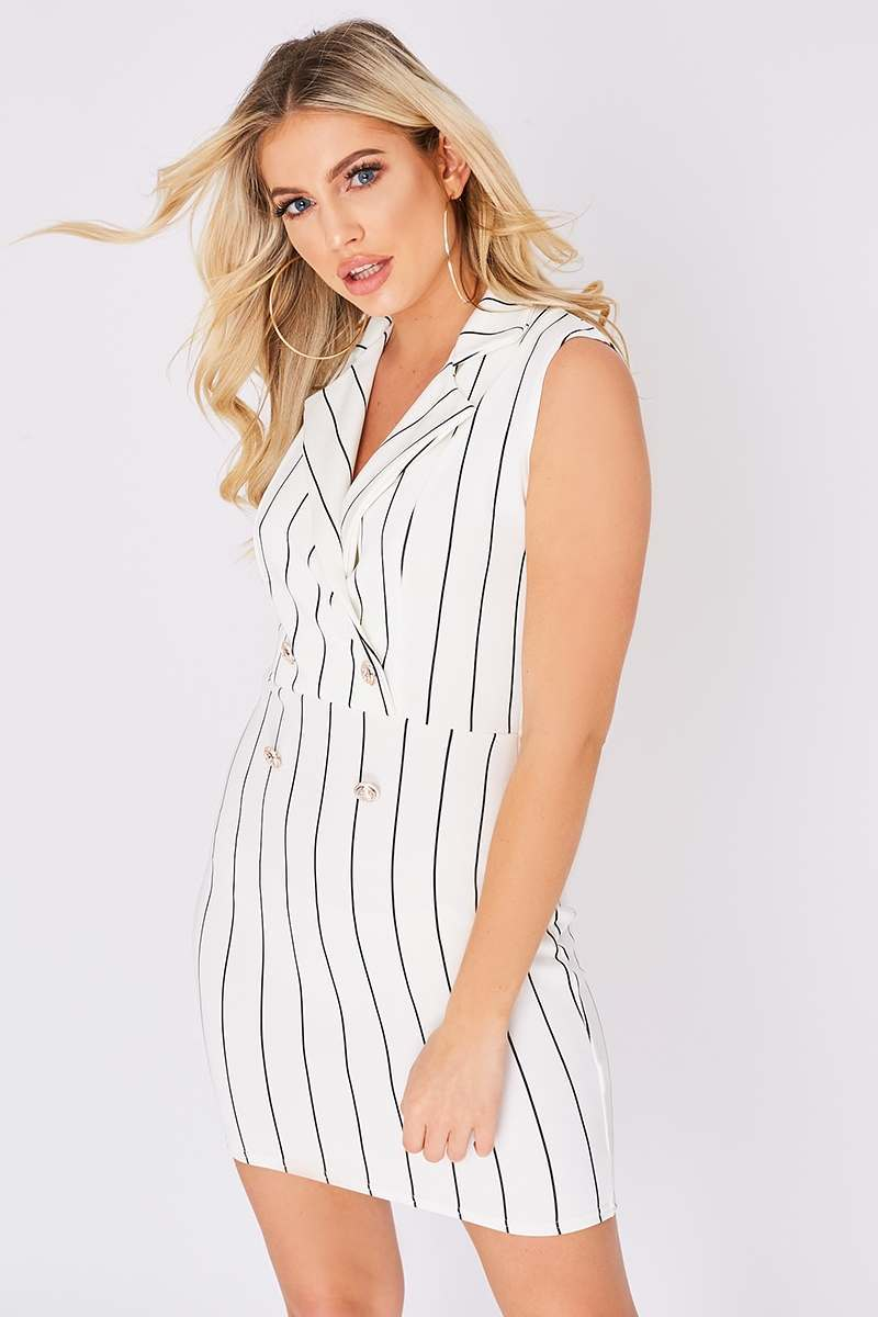 EERIN WHITE PINSTRIPE BLAZER DRESS