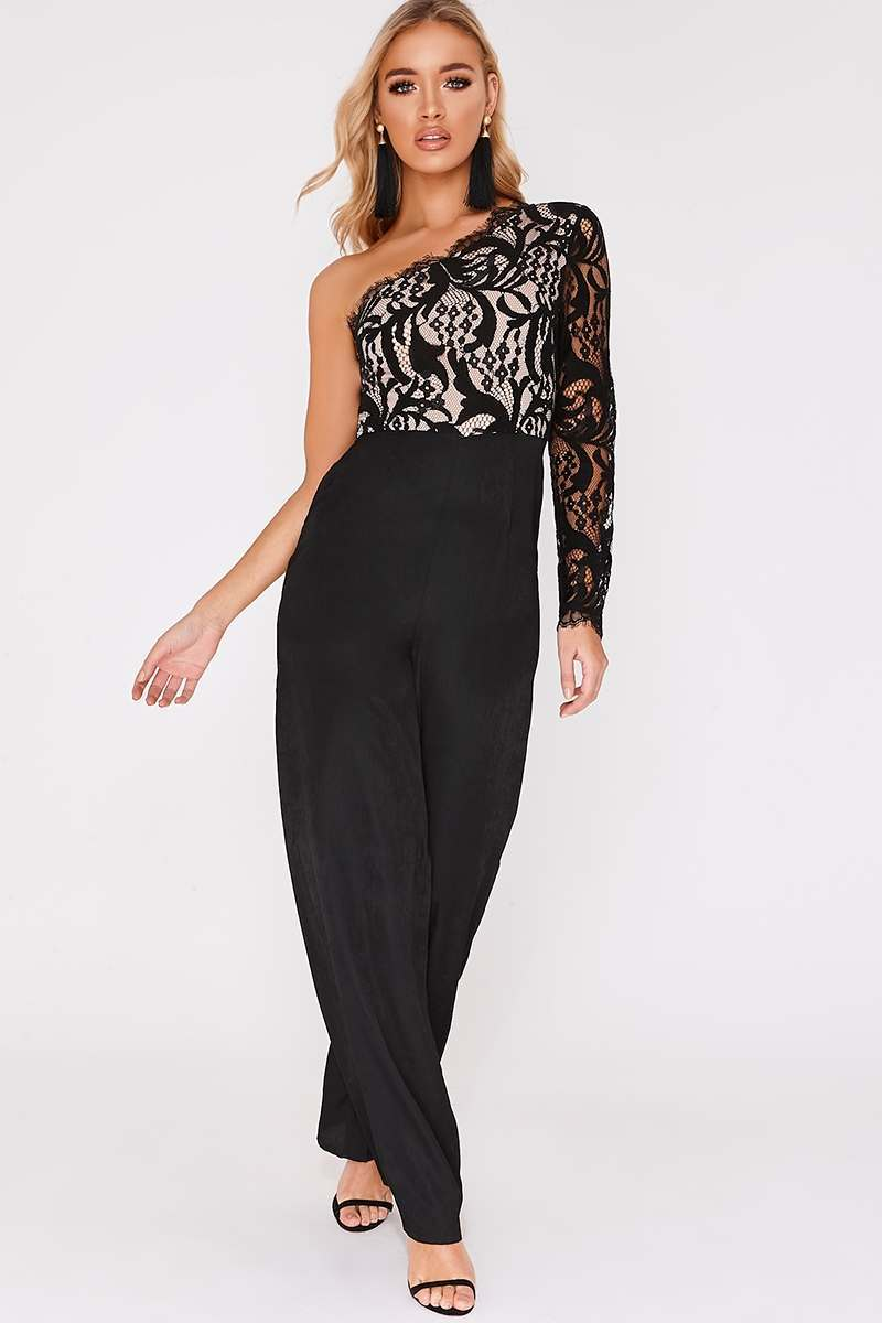 BILLIE FAIERS BLACK LACE ONE SLEEVE PALAZZO JUMPSUIT