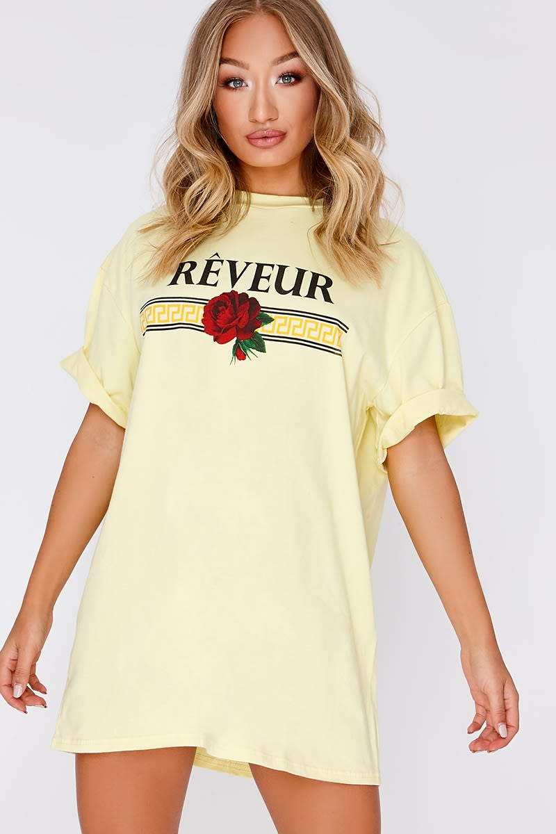 YELLOW REVEUR SLOGAN T SHIRT DRESS