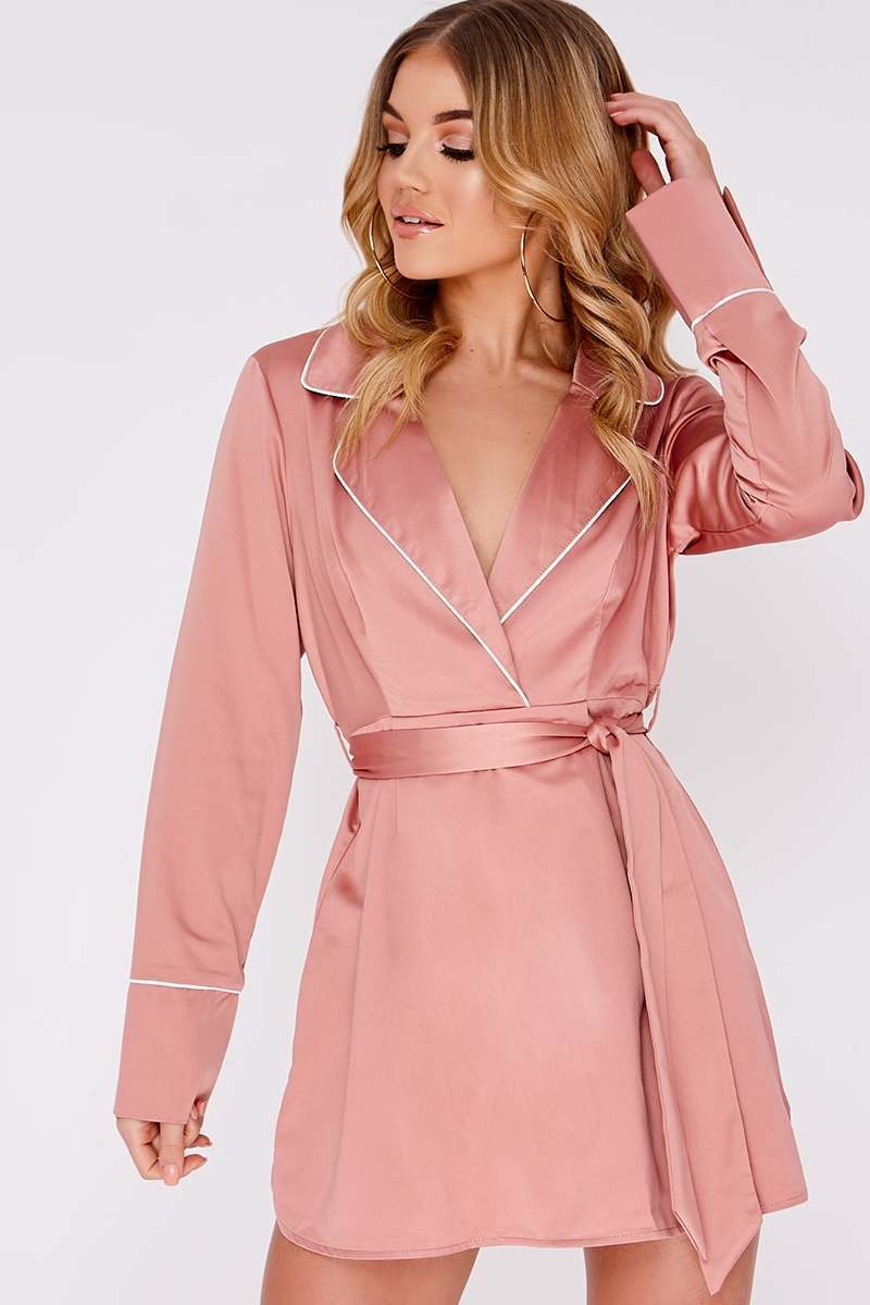CIANA NUDE SATIN CONTRAST PIPED SHIRT DRESS