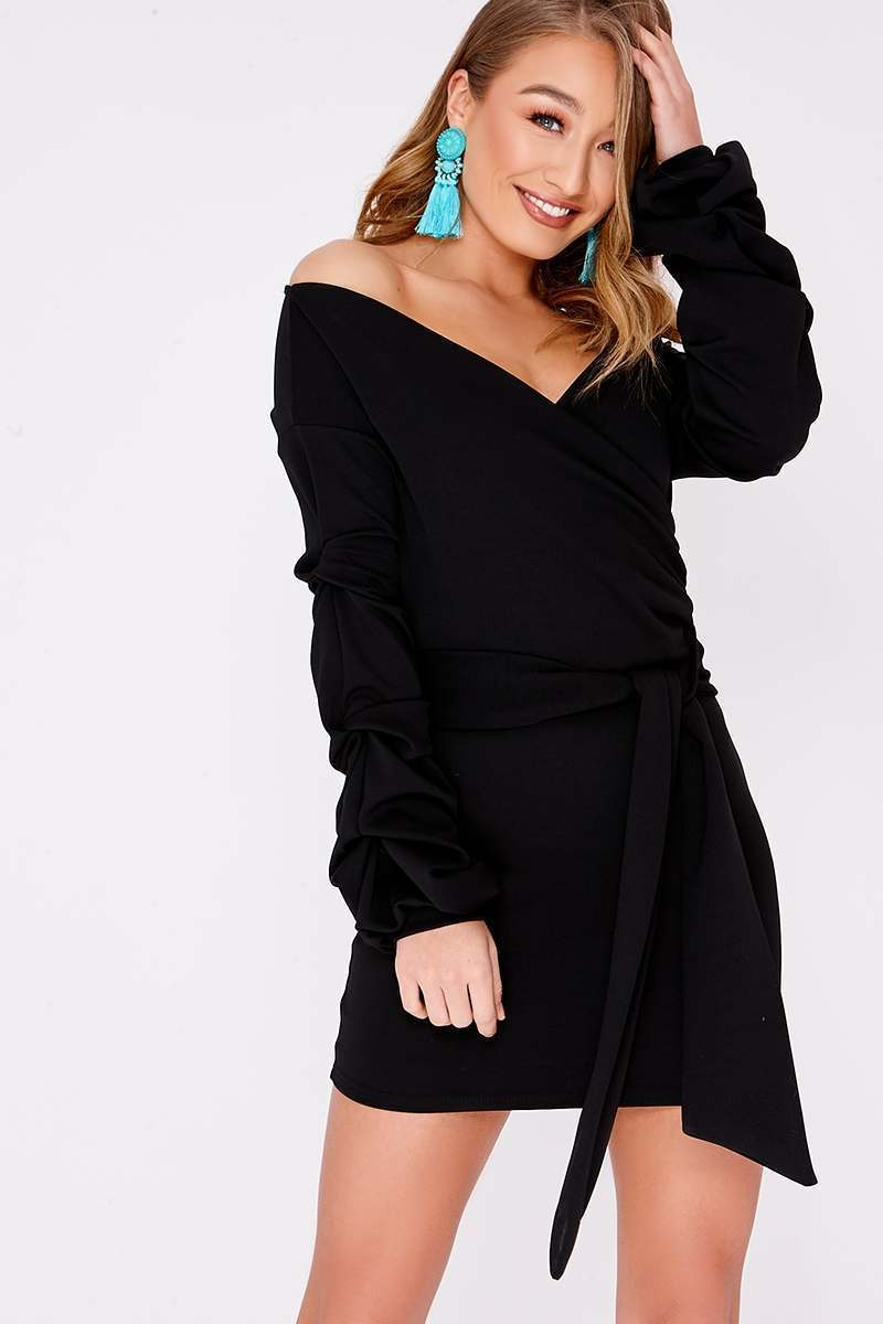 DANY BLACK RUCHED SLEEVE WRAP DRESS