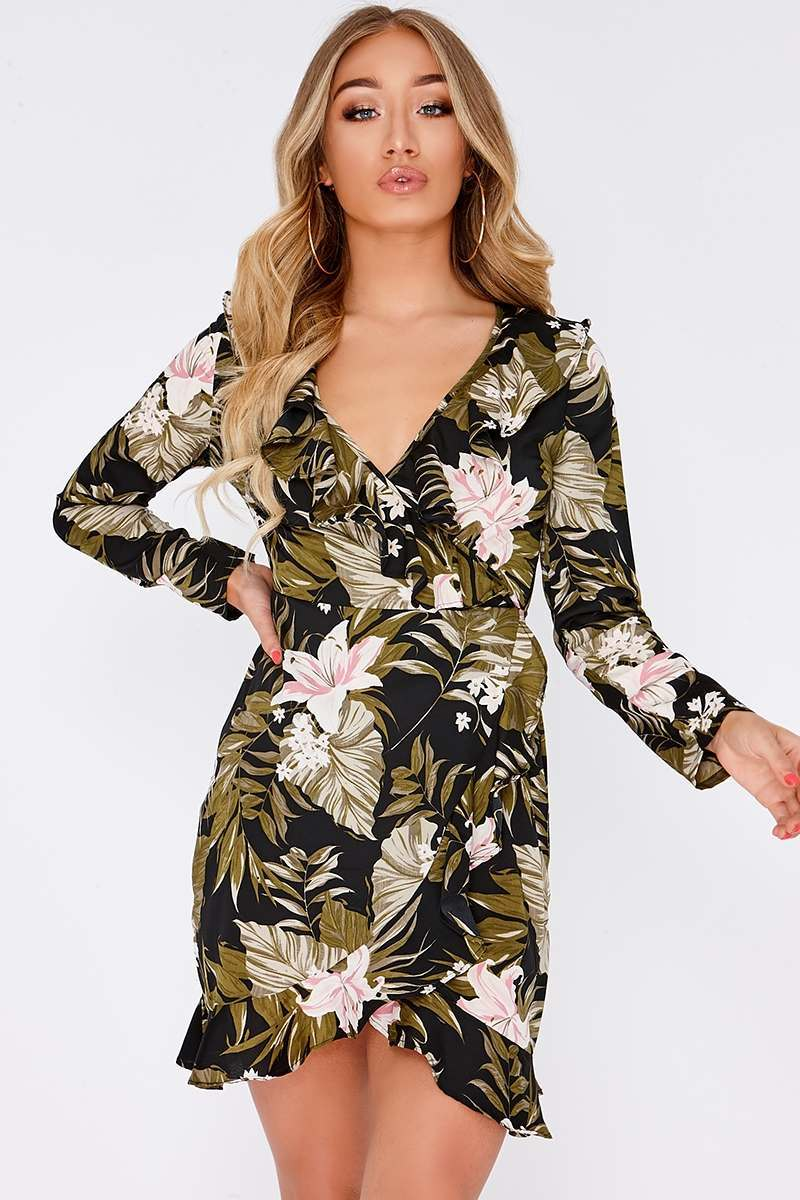 ELENI BLACK PALM PRINT LONG SLEEVE WRAP DRESS