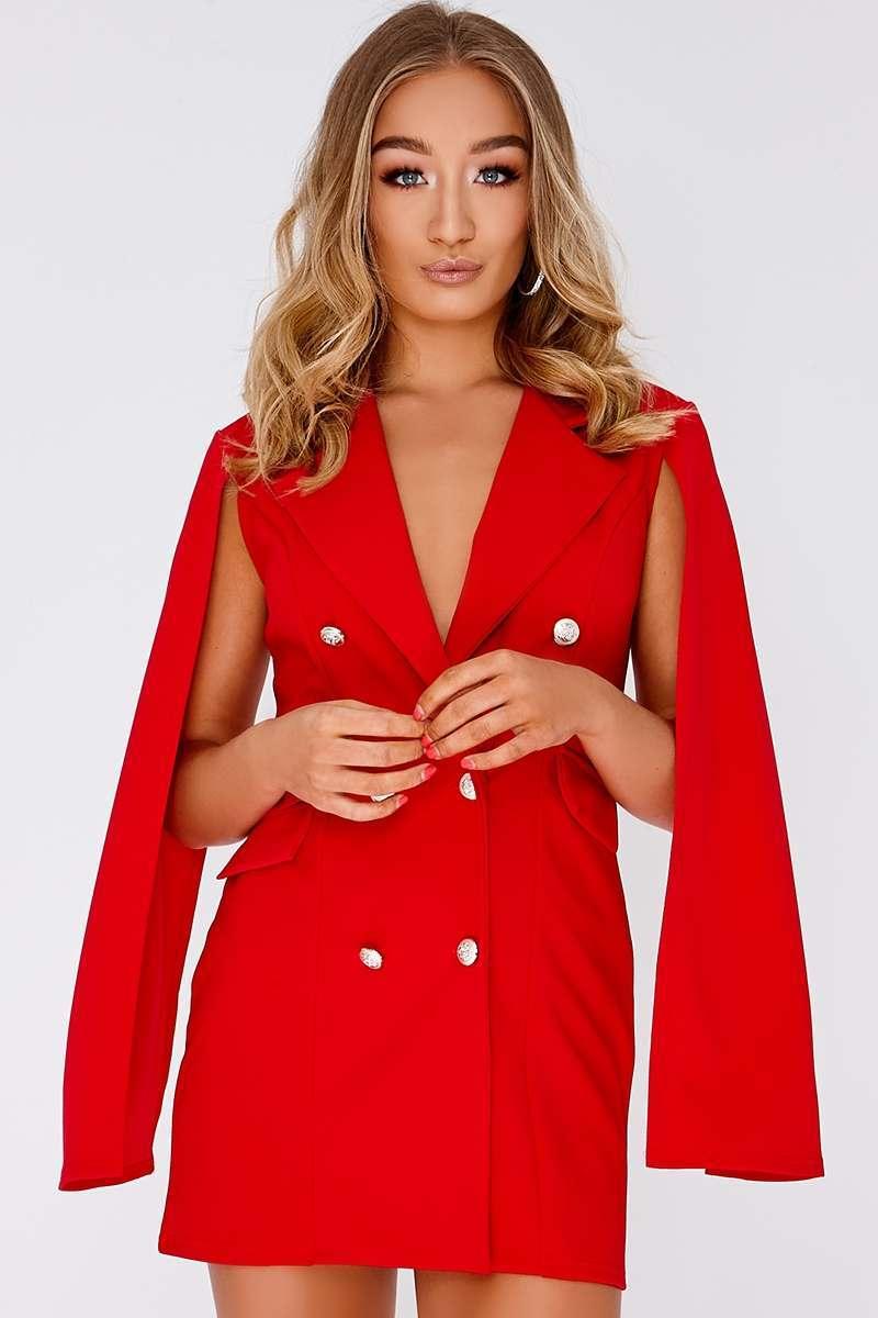 CAILLA RED SPLIT SLEEVE BLAZER DRESS