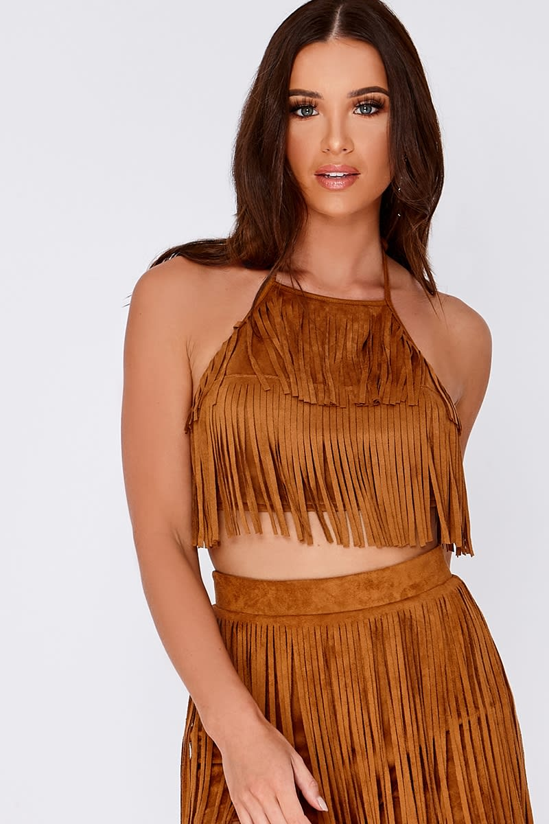 LILLIANNA TAN FAUX SUEDE HALTERNECK TASSEL TOP