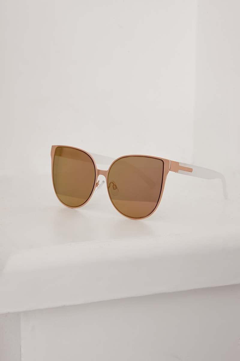 ROSE GOLD WIDE LENS SUNGLASSES