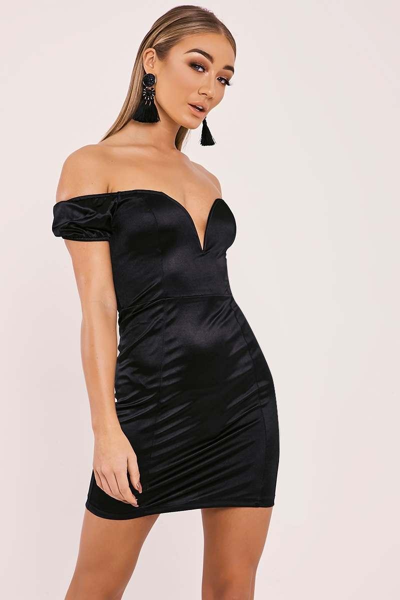 EVIAN BLACK SATIN BARDOT PLUNGE MINI DRESS