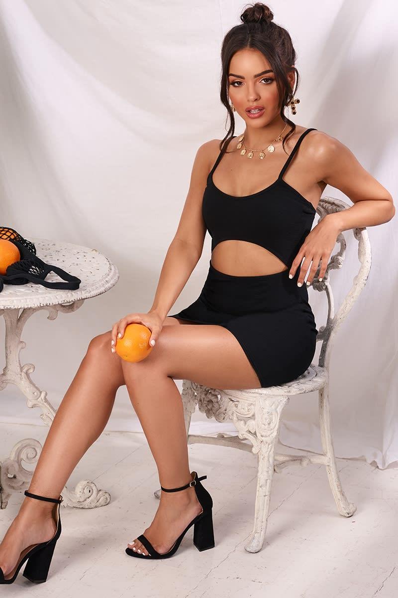 JABELLA BLACK CREPE CUT OUT MIDDLE MINI DRESS