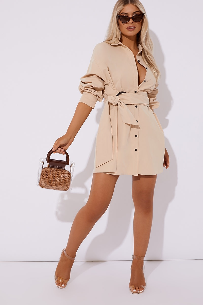 IBIA CAMEL RING DETAIL SHIRT DRESS