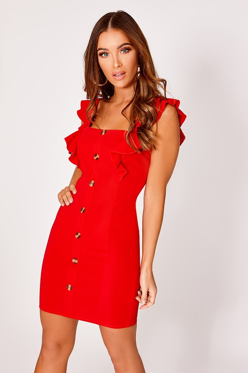 LAYLIEA RED FRILL BUTTON DOWN DRESS