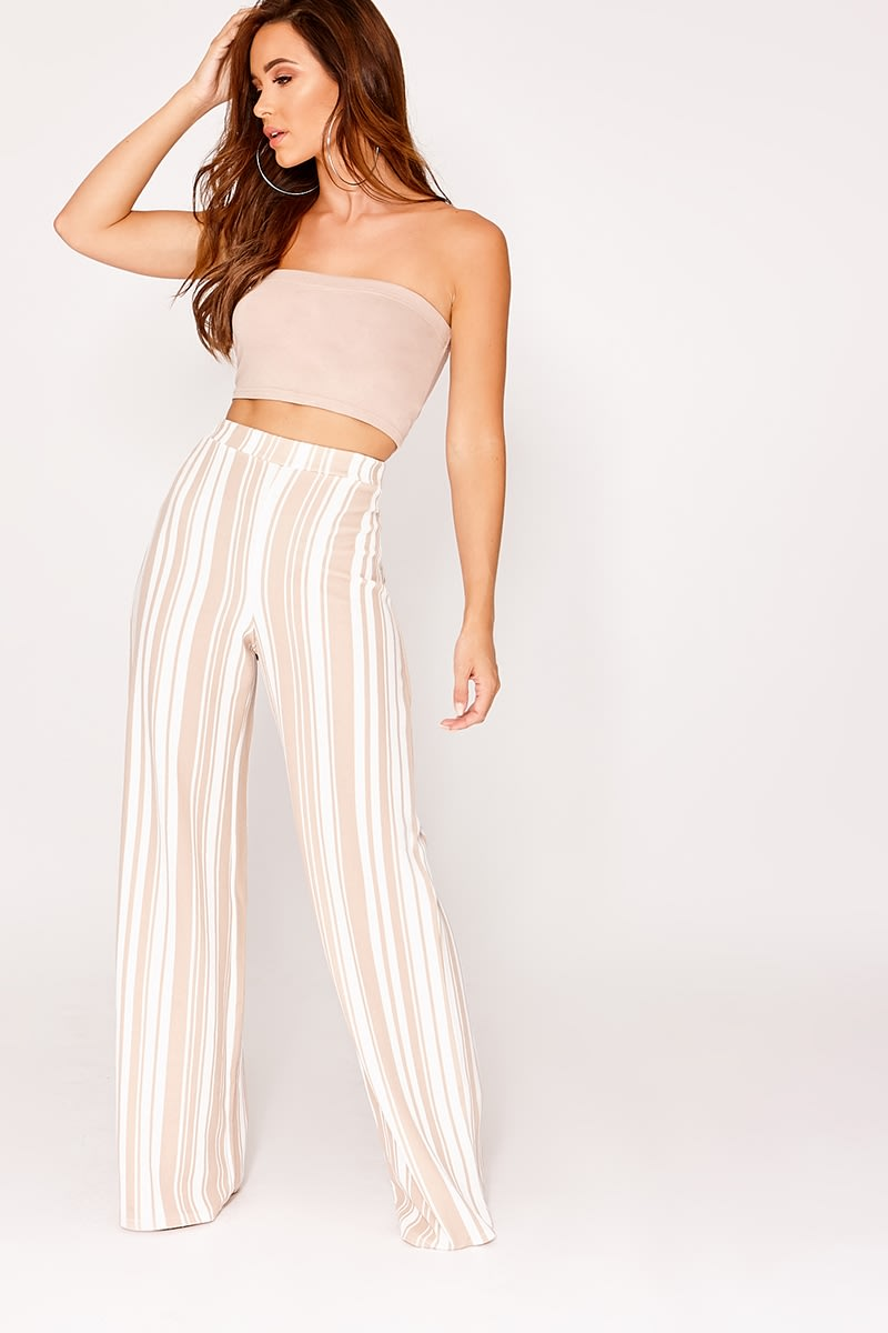 MELYNNA NUDE STRIPE HIGH WAISTED WIDE LEG TROUSERS