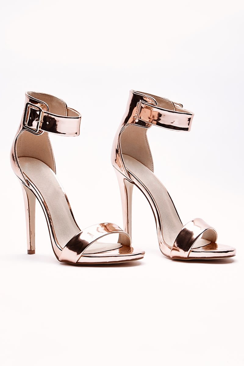 VALARY ROSE GOLD BUCKLE DETAIL BARELY THERE HEELS