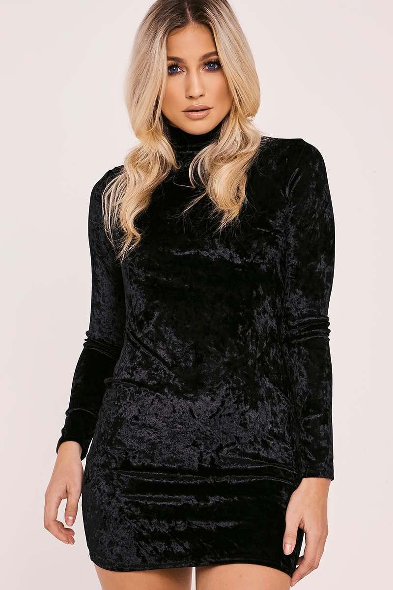 CAOIMHE BLACK CRUSHED VELVET HIGH NECK BODYCON DRESS