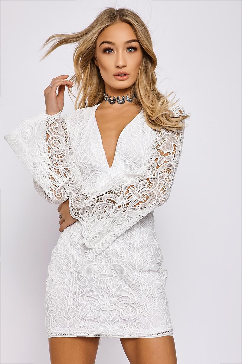 BRANDIE WHITE PLUNGE NECK CROCHET LACE DRESS