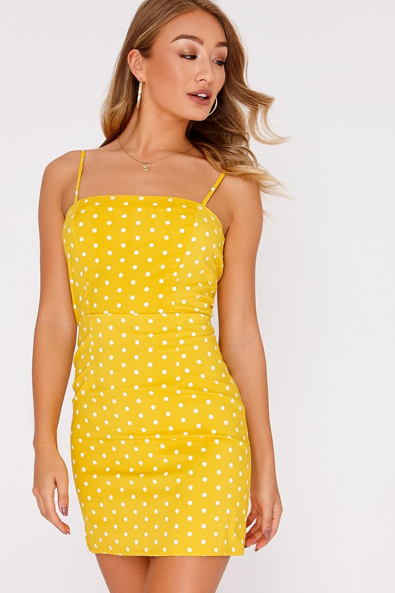 FAIRLI YELLOW POLKA DOT TIE BACK DRESS