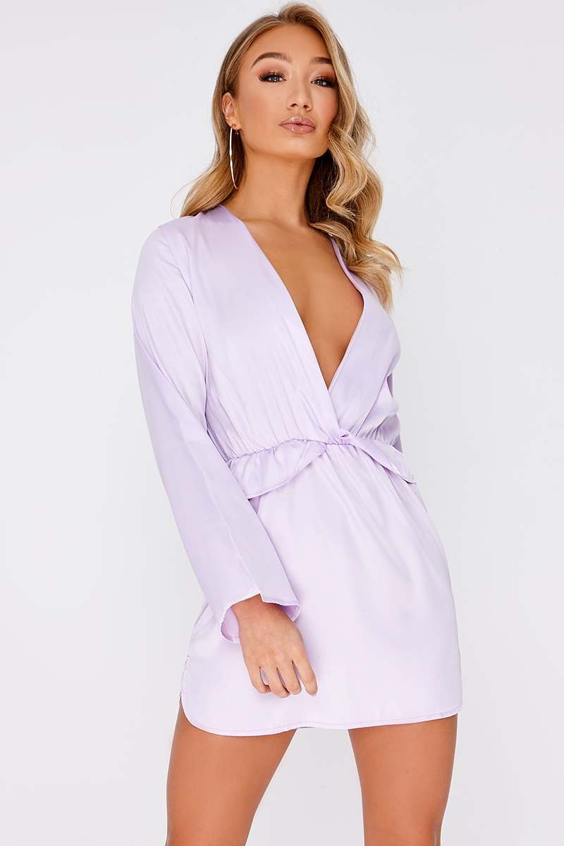 CAZZY LILAC SATIN PLUNGE FRILL DRESS