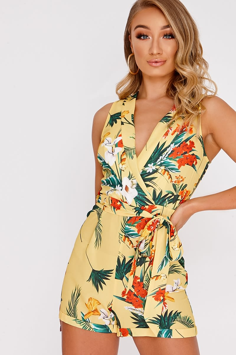 IVANNIA YELLOW FLORAL PLUNGE WRAP PLAYSUIT