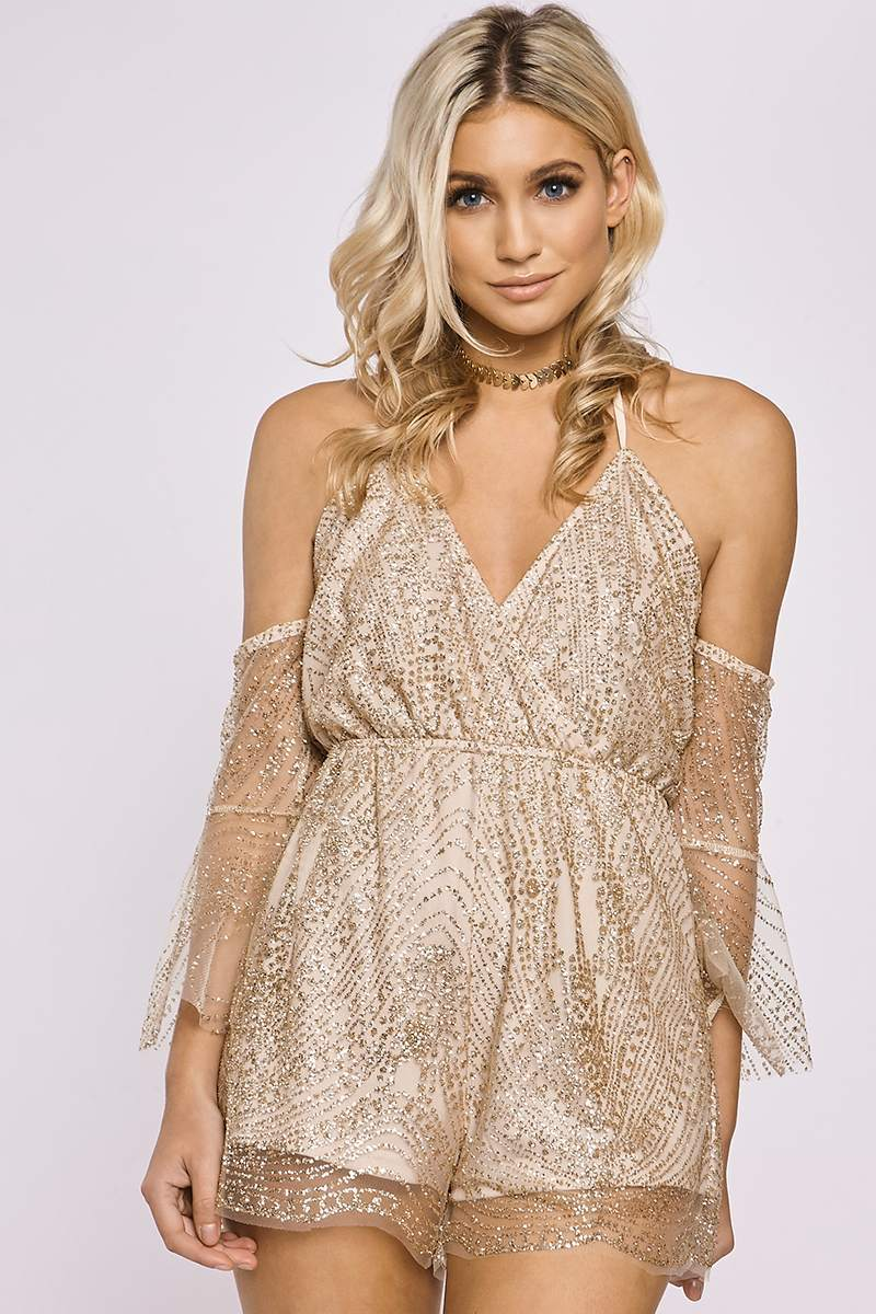 EMILE GOLD MESH GLITTER COLD SHOULDER PLAYSUIT