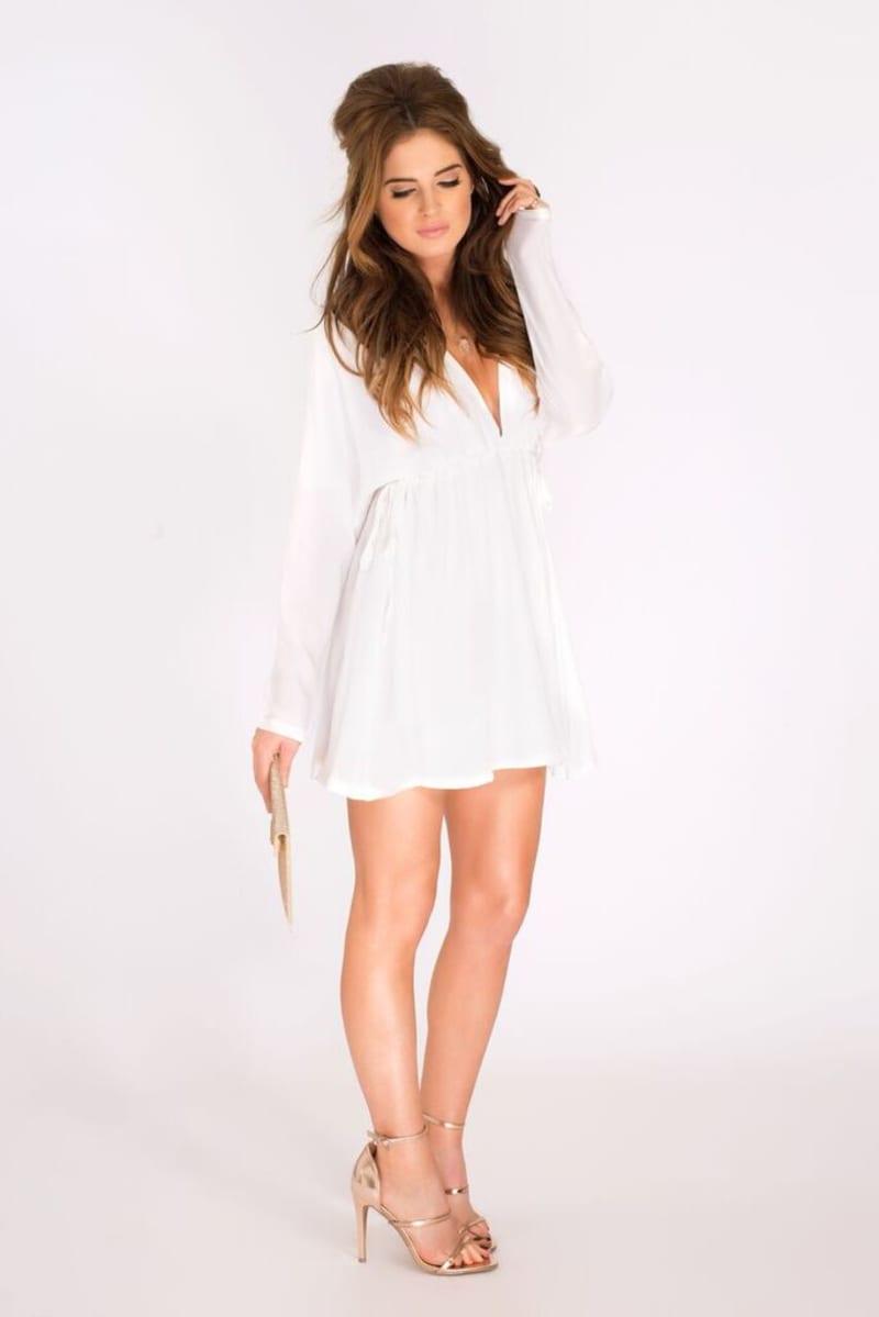 Binky Double Drawstring White Dress