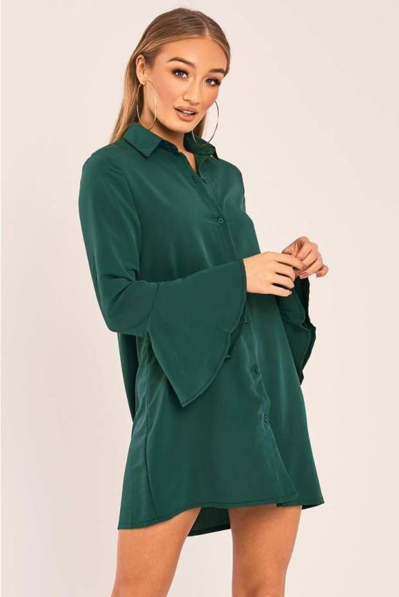 CHARLIZE GREEN FLARED SLEEVE SILKY SHIRT DRESS