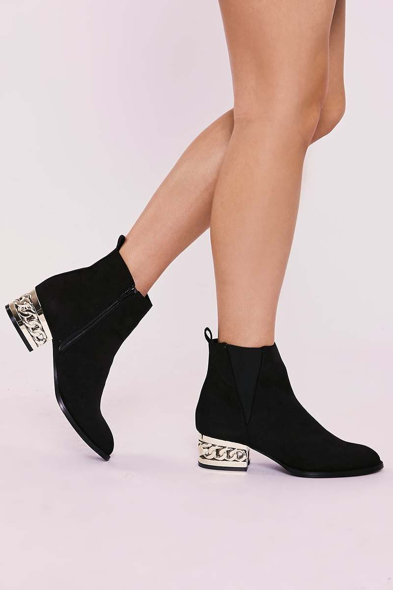 YASMENA BLACK FAUX SUEDE HEEL DETAIL ANKLE BOOTS