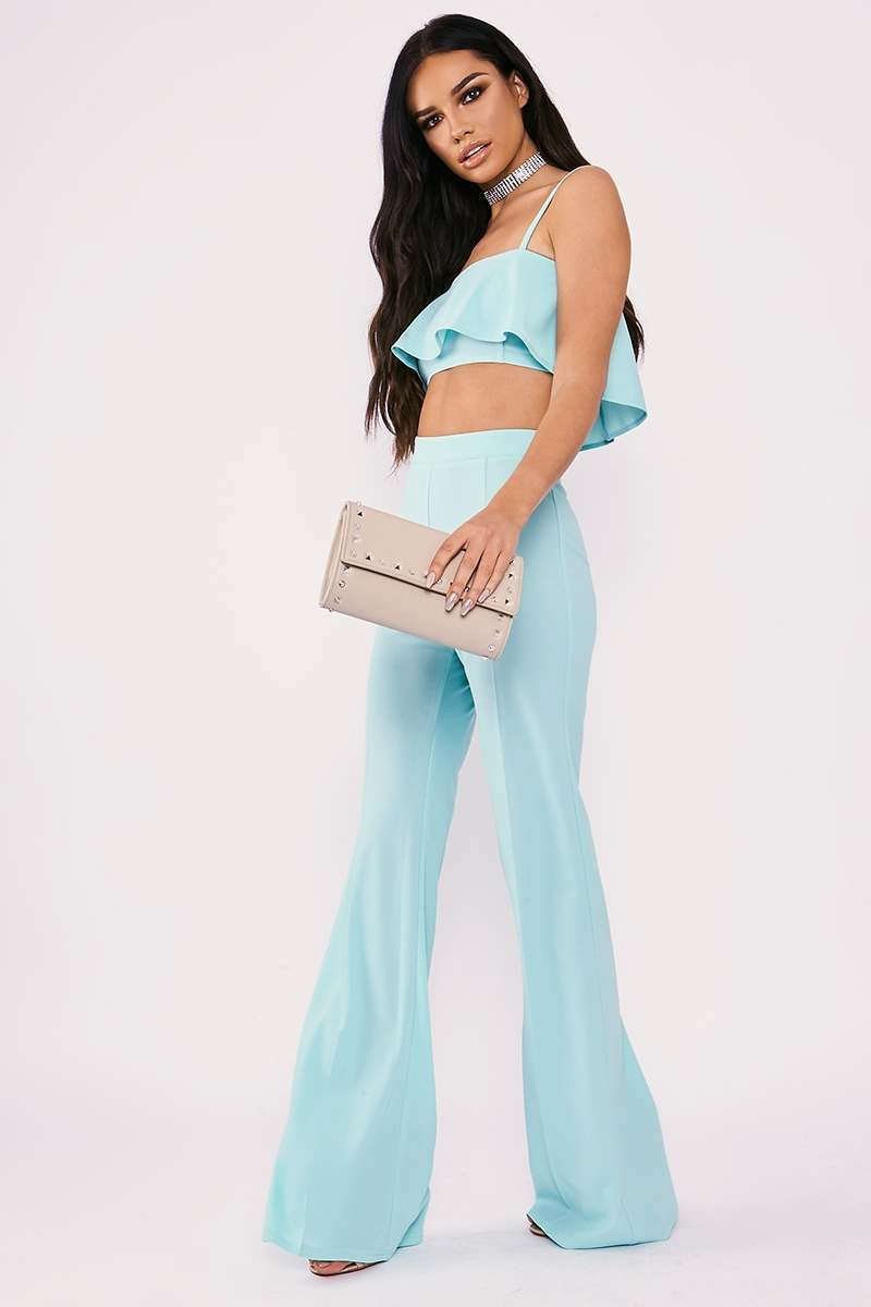 SARAH ASHCROFT MINT TALL HIGH WAISTED WIDE LEG TROUSERS