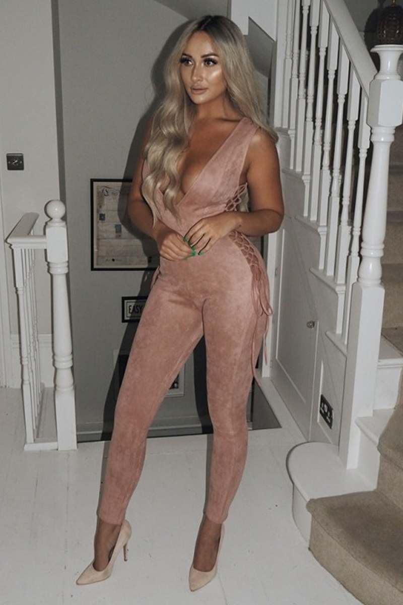 SARAH ASHCROFT PINK FAUX SUEDE LACE UP SIDE PLUNGE JUMPSUIT