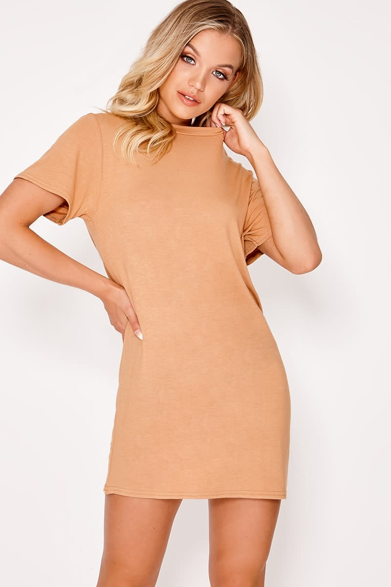 BASIC CAMEL JERSEY T SHIRT DRESS