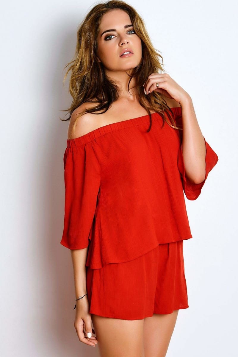 BINKY BURNT RED DOUBLE LAYER BARDOT PLAYSUIT