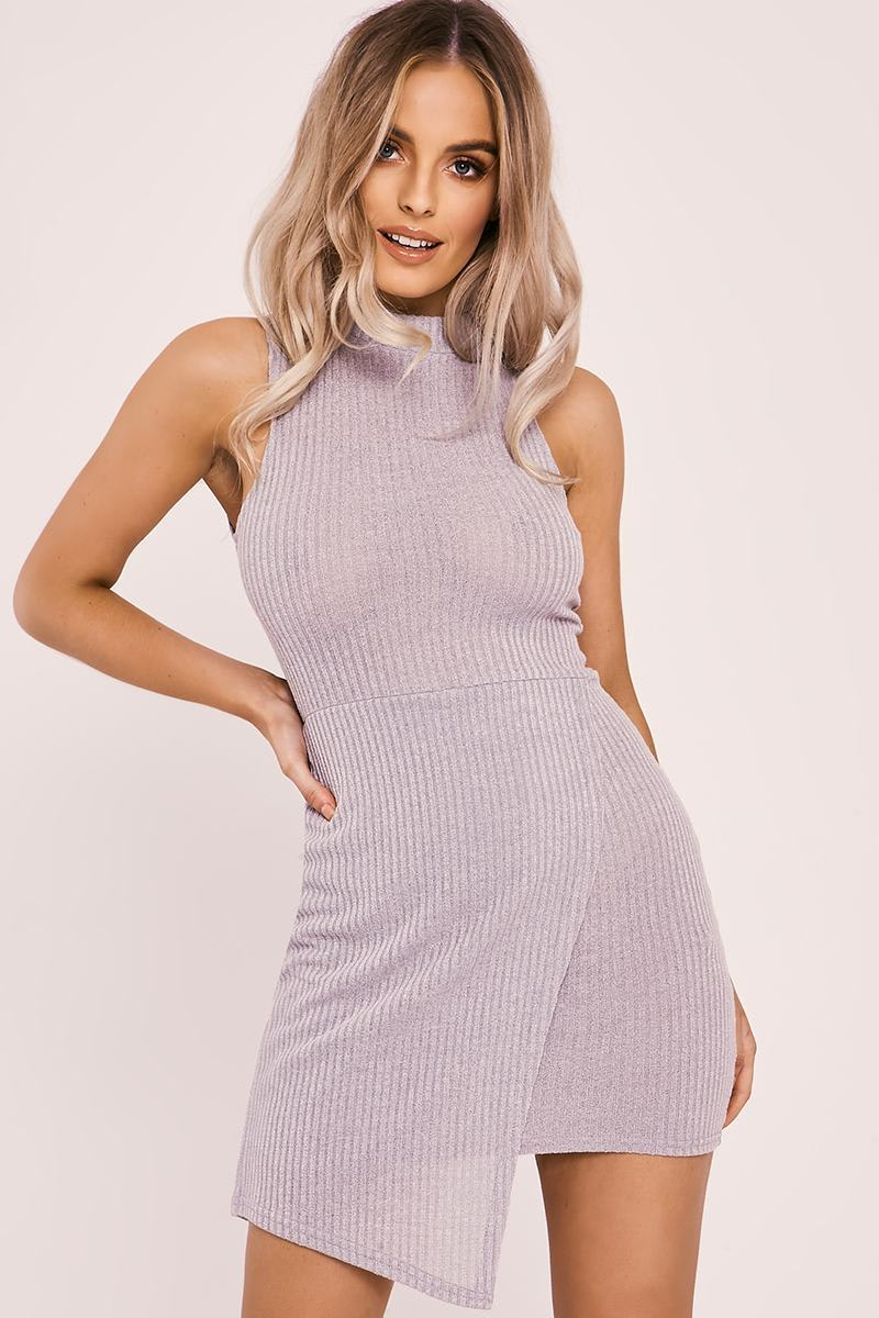 HALLY GREY RIB KNIT ASYMMETRIC HEM MINI DRESS