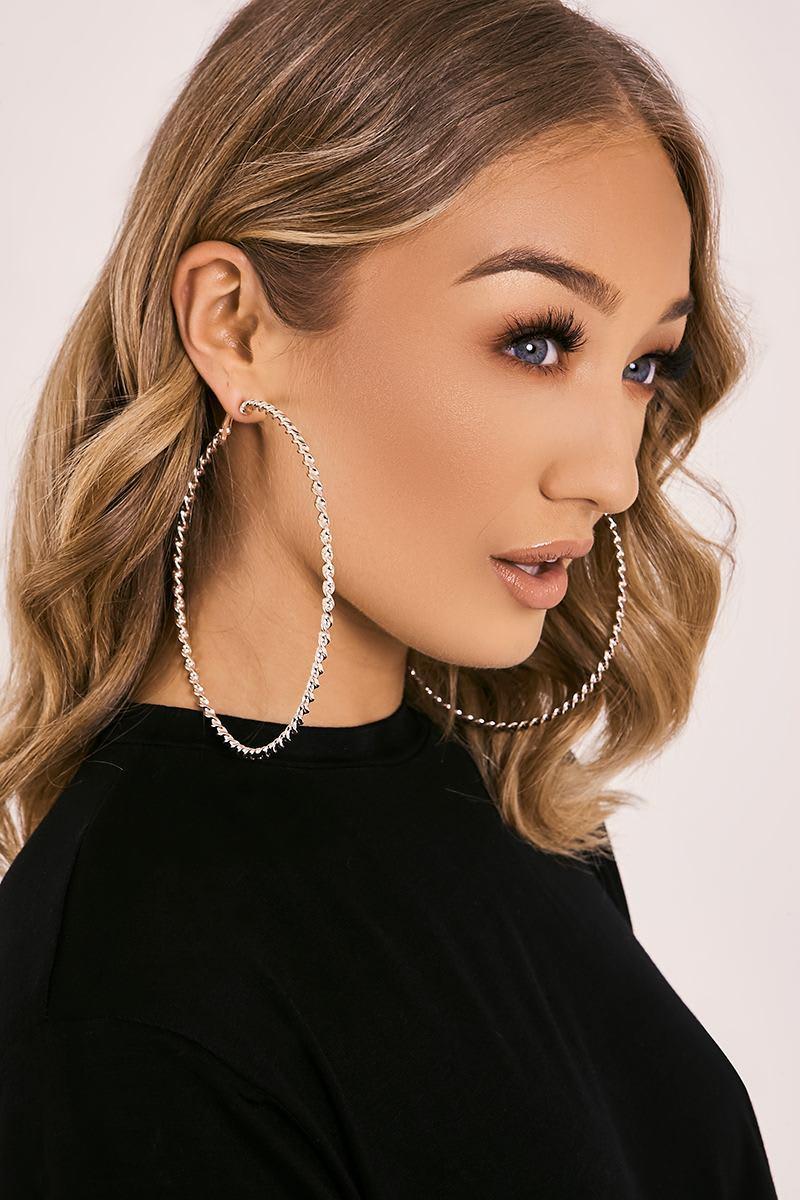 ROSE GOLD TWISTED LARGE HOOP EARRINGS