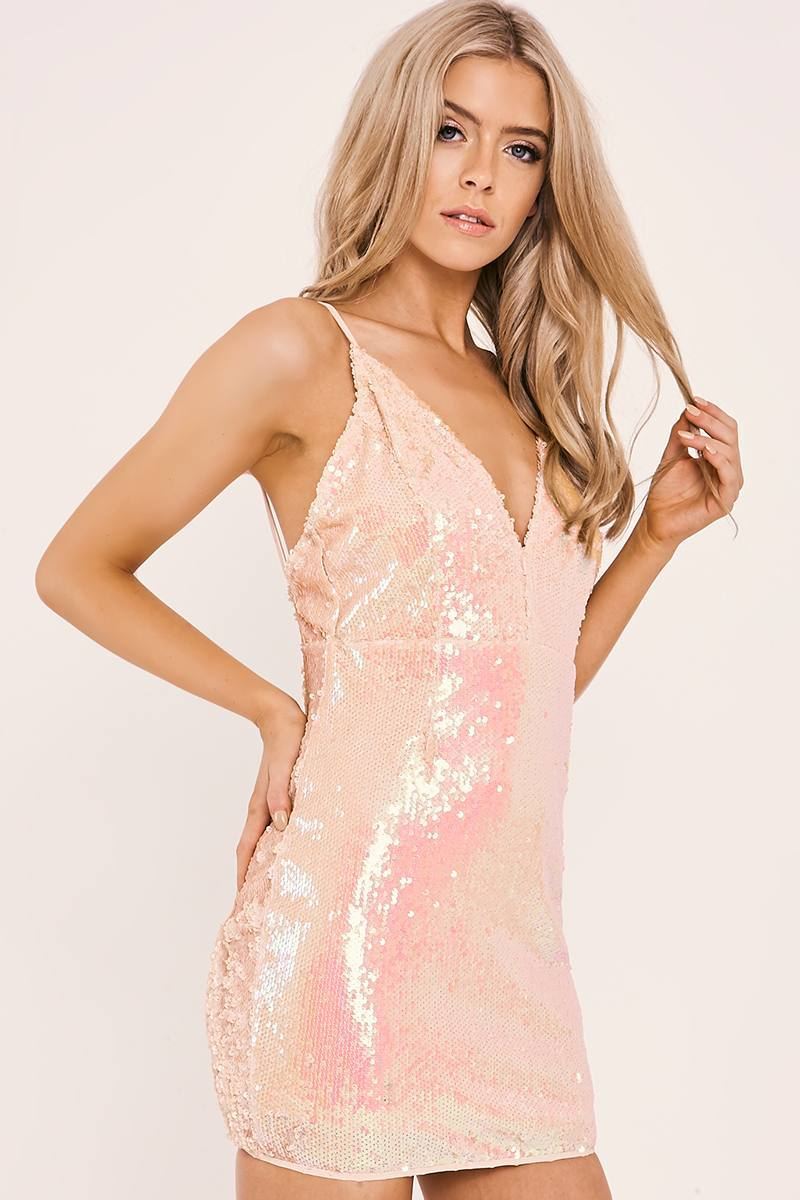 POLLEY PEACH IRIDESCENT SEQUIN PLUNGE DRESS