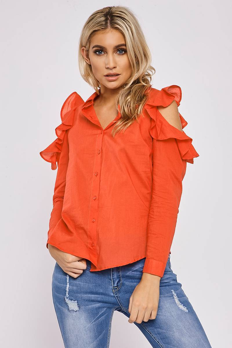 KENNY RED FRILL SHOULDER SHIRT