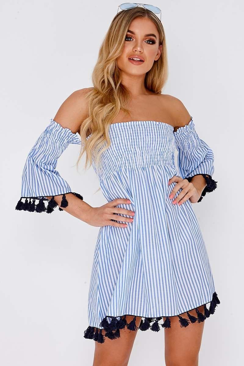 FLISS BLUE STRIPE TASSEL TRIM BARDOT DRESS