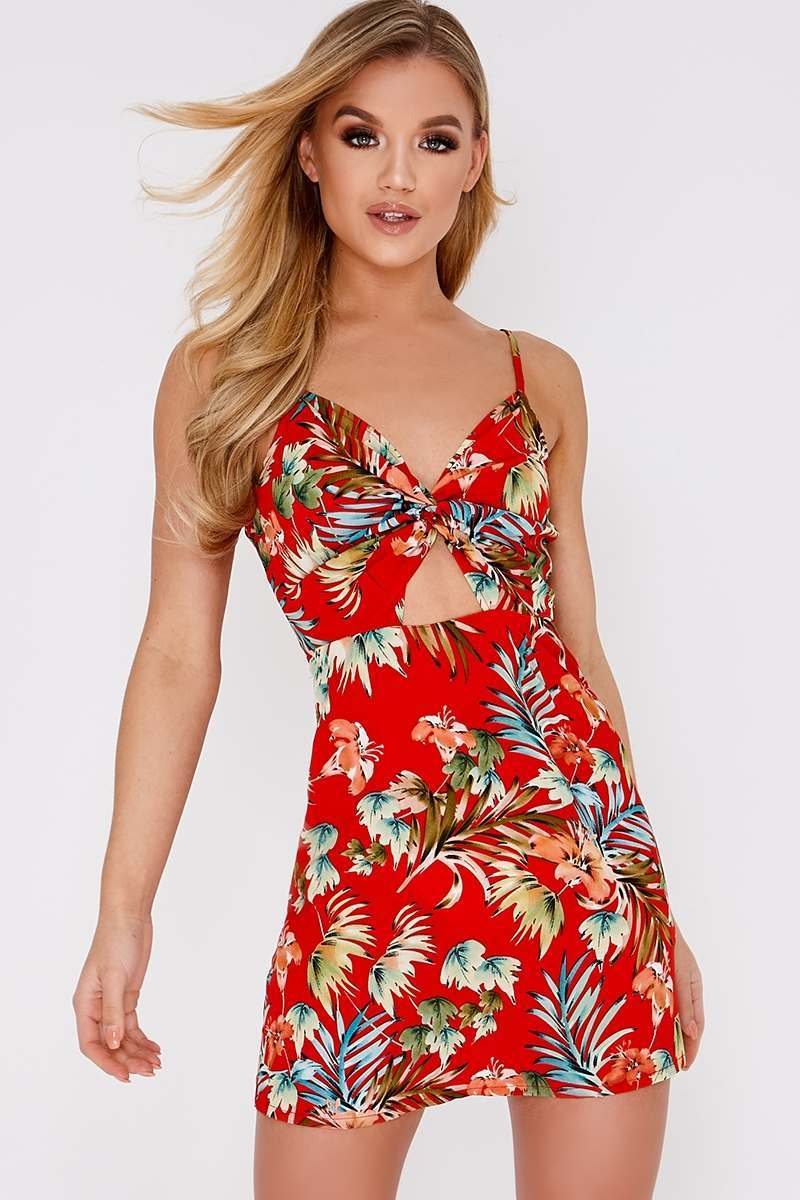 BECKI RED TROPICAL FLORAL TWIST FRONT CAMI DRESS