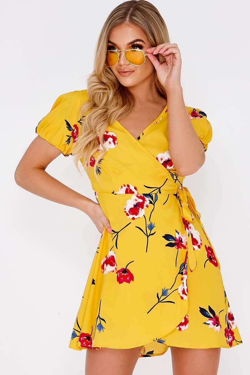 FLORICE YELLOW FLORAL WRAP DRESS