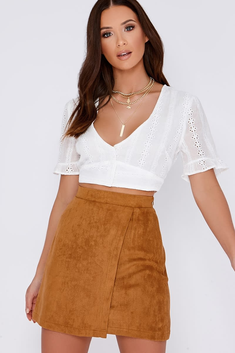 JAELA TAN FAUX SUEDE MINI SKIRT