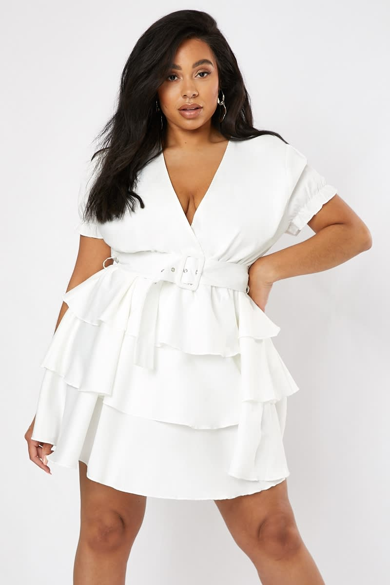CURVE DANI DYER WHITE BELTED TIERED MINI DRESS