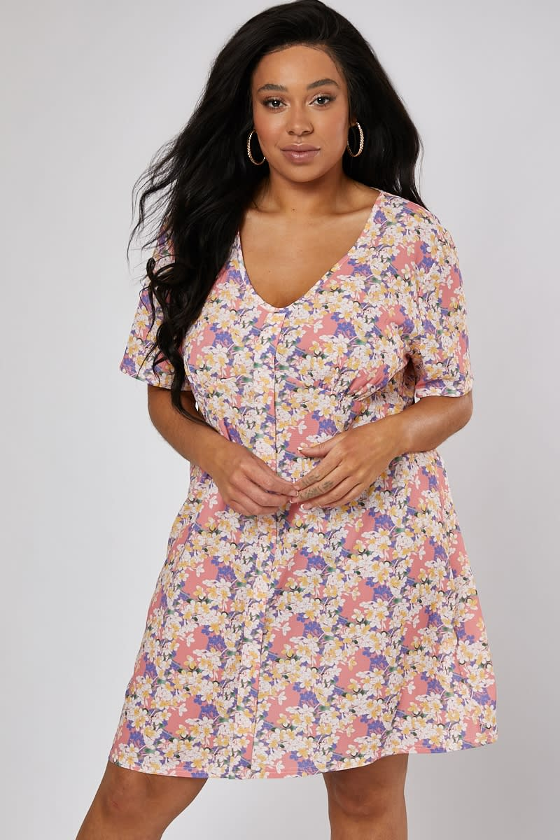CURVE EMILY ATACK PINK FLORAL PRINT V NECK SHIFT DRESS