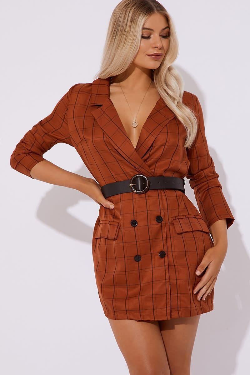 BROOKELYNN BROWN CHECKED BLAZER DRESS
