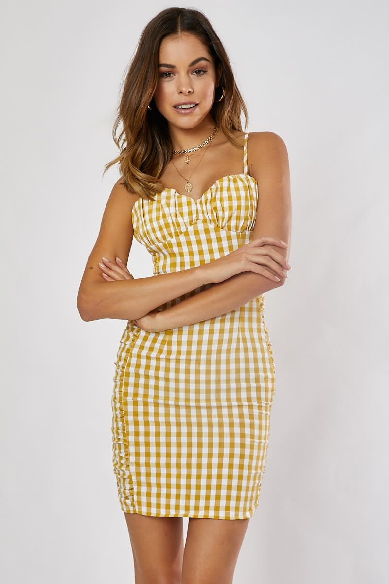 CHERMONA YELLOW GINGHAM RUCHED MINI DRESS