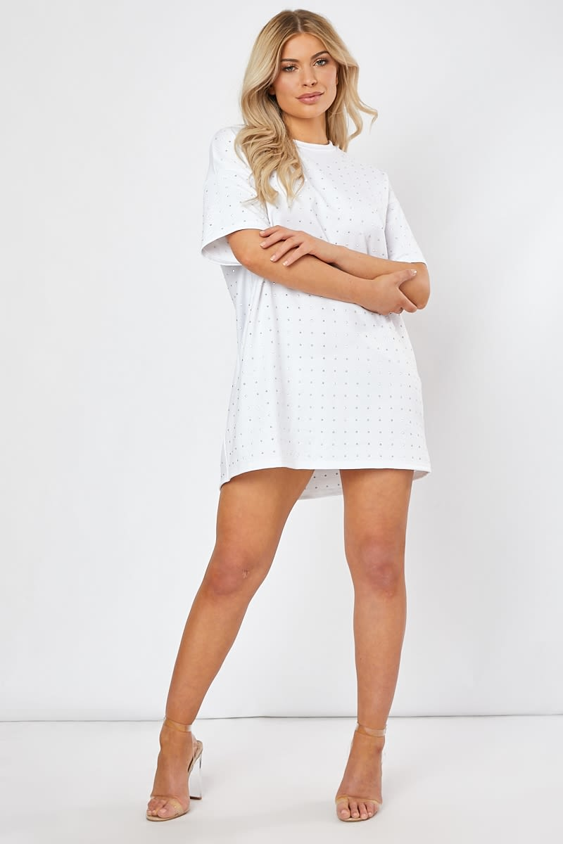VADAH WHITE RHINESTONE T SHIRT DRESS